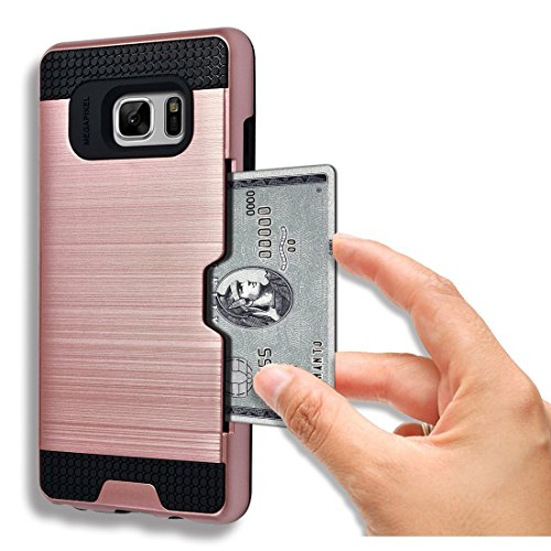 Galaxy Note 5 Case, AnoKe [Credit Card Slots Holder][Not Wallet] Hard Silicone Rubber Hybrid Armor Shockproof Protective Holster Cover Case For Samsung Galaxy Note 5 - KLS Rose Gold 5 Silicone Silicon Case