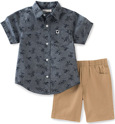 Kids Headquarters Baby Boys 2 Pieces Shorts Set-Printed Woven Shirt