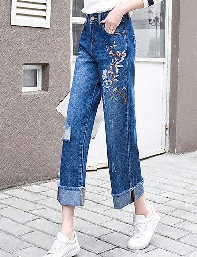 Blue Floral Pantalon Femme YFLTZ Jeans Brod pour Basic q1w4zBgP