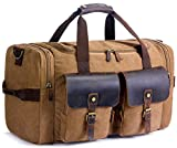 SUVOM Weekender Duffle Bag Canvas Leather Travel Luggage Oversized Holdalls, Coffee