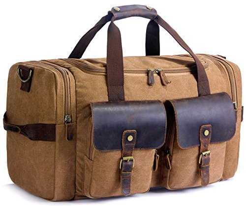 (SUVOM Weekender Duffle Bag Canvas Leather Travel Luggage Oversized Holdalls, Coffee)