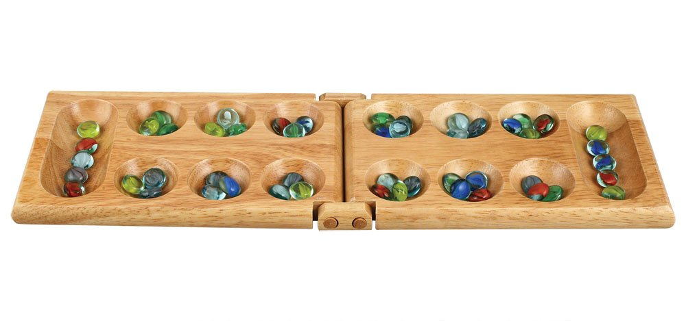 Melissa Wood Folding Mancala Board Game - 17.5 Inch Set