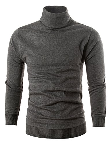MIEDEON Mens Casual Basic Knitted Turtleneck Slim Fit Pullover Thermal Sweaters (Dark Grey, S) by MIEDEON