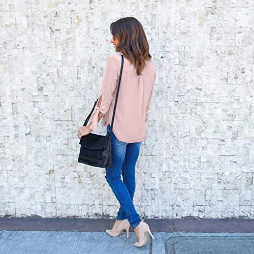 Lunghe Camicia A Taglia Unita Rossa S Maniche Selvaggia Donna Tinta Donne Per Le In Rosa Rosa T V colore shirt Nero Da Camicetta Scollo Chiffon Blu wSw8q