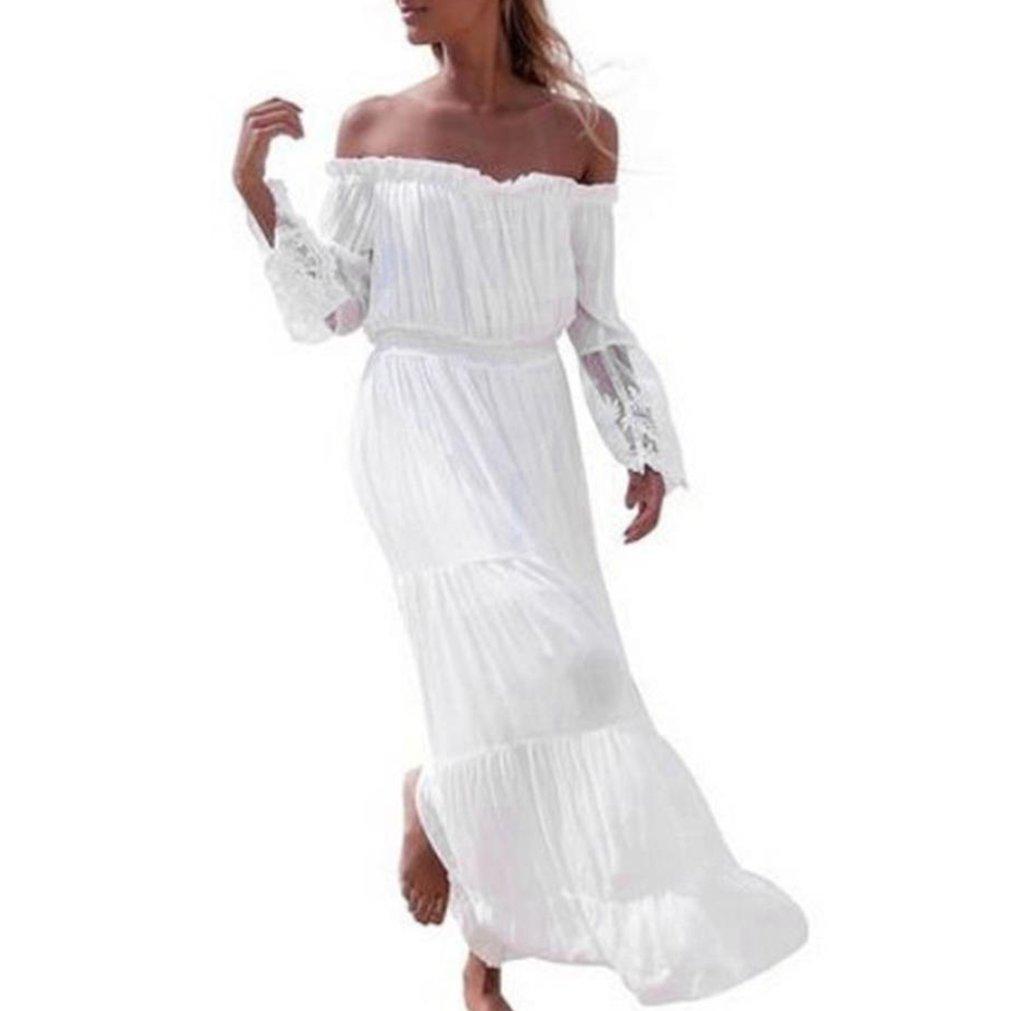 Familizo Summer Women Dress, Floral Maxi Dress Bandeau Holiday Beach Long Dress