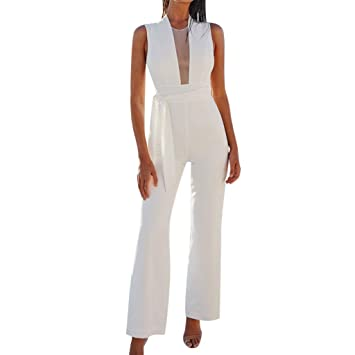 7dff29b1449b Womens Long Elegant Jumpsuits High Neck Sleeve Casual Wide Leg Rompers by  Bravetoshop(White