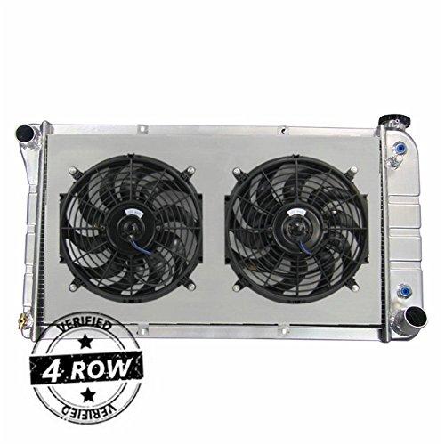 """Primecooling 70MM 4 Row Core Full Aluminum Radiator +2X12"""" Fans +Shroud for 1967-72 GMC Chevrolet C/K Pickup Truck C10 C20 C30"""