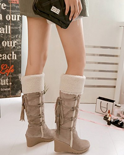 Cotton Winter Skidproof Minetom Warm Shoes Tassel Boots Wedge Beige Snow Plush Women Boots Padded SB5Zx5zq