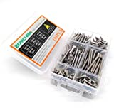316 Stainless Steel Screws, M5 Phillips Pan Flat Head Self Tapping Screws Assortment Kit (6 Size, 180pcs)