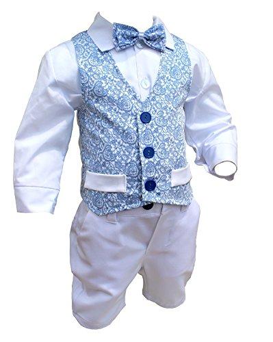 LULINA Abito da Battesimo Elegante Color Blu-Bianco, Vestito da Cerimonia 4pz. 1