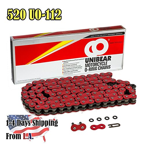 - 520 Red Motorcycle O-Ring Chain 112 Links with 1 Connecting Link