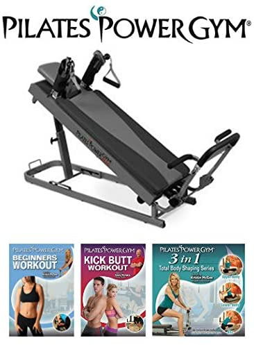 Amazon Com Pilates Power Gym Plus Ultimate Mini Reformer With Push Up Bar And 3 Celebrity Trainer Pilates Workout Dvds Push Up Bar Included Pilates Reformers Sports Outdoors