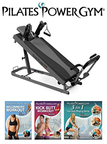 Pilates Power Gym Plus - Ultimate Mini Reformer with Push Up Bar and 3 Celebrity Trainer Pilates Workout DVDs Push Up Bar Included -  KASWIT, Inc., PPGPS-D3