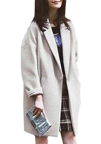 Parkas Mujer Primavera Otoño Largos Boyfriend Gabardina Elegante Joven Festivo Vintage Moda Abrigos Colores Sólidos Manga Larga con Bolsillos Outerwear ...
