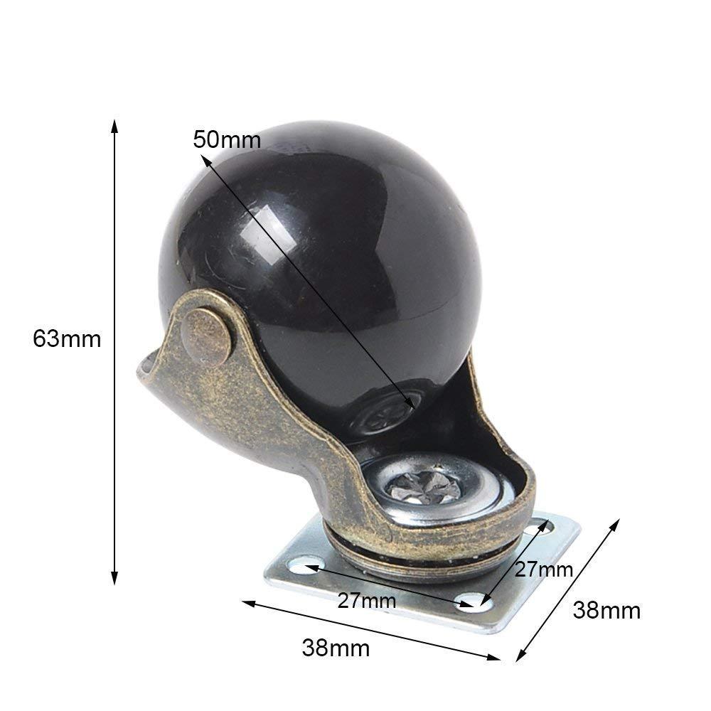 50mm Manf/â 4 St/ücke Ball Caster Rad 360 Grad Drehwirbel Platten Metall Mit Kapuze Kugelf/örmige Bremse Schwere f/ür Schreibtisch Stuhl Couchtisch Spielzeug Schuhe bins 2 zoll