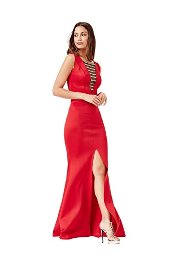 d8a2b9d1e88 Goddiva Embellished Red Maxi Dress with Split Detail Evening Gown Party  Dress  Amazon.co.uk  Clothing