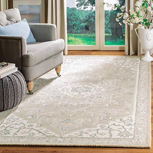 Safavieh MLP505F-9 Micro-Loop Collection MLP505F Light Grey and Ivory Premium Wool (9' x 12') Area Rug,