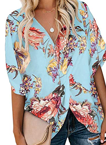 n, Misyula Juniors Tie Front Blouses Knitted Fashion V Neck Short Batwing Sleeve Tops Novelty Classic Attractive Slim Fit Career Business Tunic With Jeans Flower Light Blue XL ()