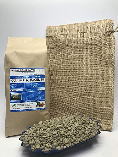 5 Pounds - South American - Colombia Excelso - Unroasted Green Coffee Beans - Grown in Huila Region - Altitude 1400-1750 Meters - Drying/Milling Process Is Washed, 80% Sun Dried- Includes Burlap Bag ()