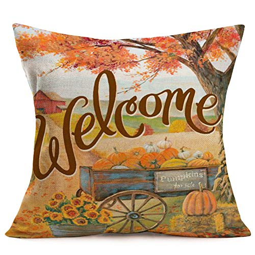 Autumn Leaves Pillow - Asamour Fall Pumpkins for Sale Carts Throw Pillow Covers Welcome Autumn Quote with Maple Leaves Sunflower Farmhouse Decor Pillowcase Cotton Linen Throw Pillow Case Cushion Cover 18''x18'' for Sofa