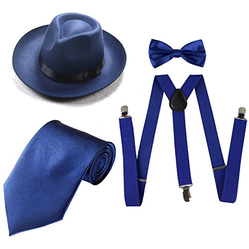 Gangster Hat (ZeroShop 1920s Mens Costume Accessory Set - Manhattan Fedora Hat, Suspenders Y-Back Elastic Trouser Braces,Pre Tied Bow Tie,Gangster Tie (Onesize, Blue))