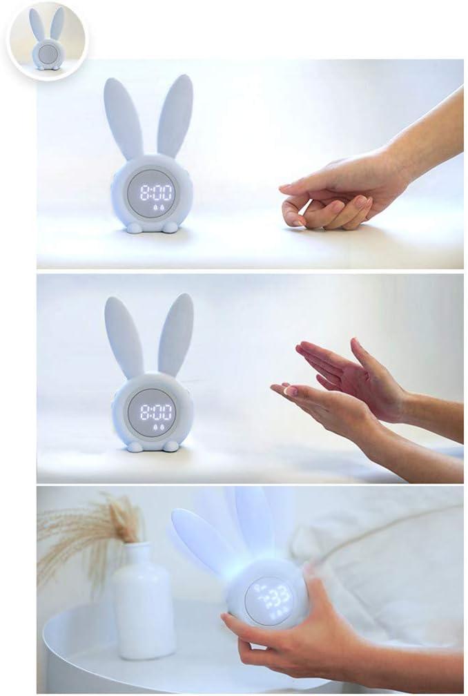 Rosa Lichtwecker LED Digitaler Wecker Gro/ßes Display im Hasen Ohren Design Magnetisch Reisewecker Tischuhr Wake Up Licht Nachttischlampe VNEIRW Kann am K/ühlschrank angebracht Werden