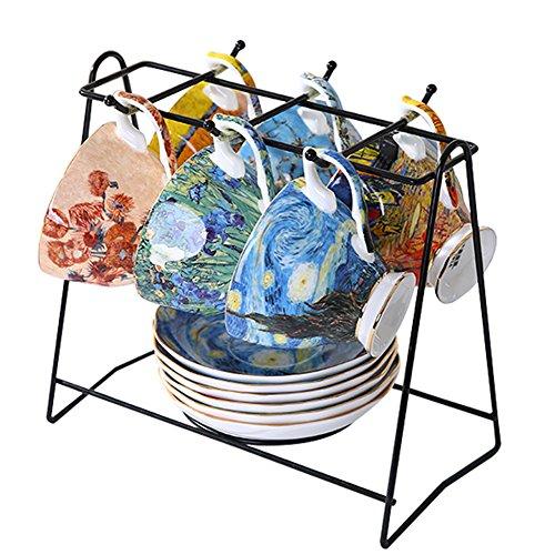 Vincent Van Gogh Bone China Tea Cup and Saucer Set With Gift Box, 8-Ounce Art Coffee Mugs Set (Set of 6) by Yosou Home (Image #1)