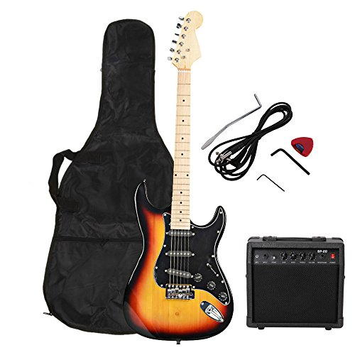 ISIN Full Size Electric Guitar for Music Lover Beginner with Amp and Accessories Pack Guitar Bag (gold)