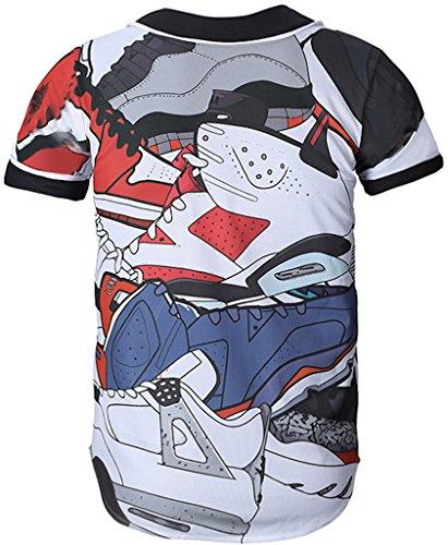 Corte Uomo Y1724 Hip Divertente 3d 29 A Maniche Con Hop Camicia Stampa Pizoff Baseball nfq7SW8PRw