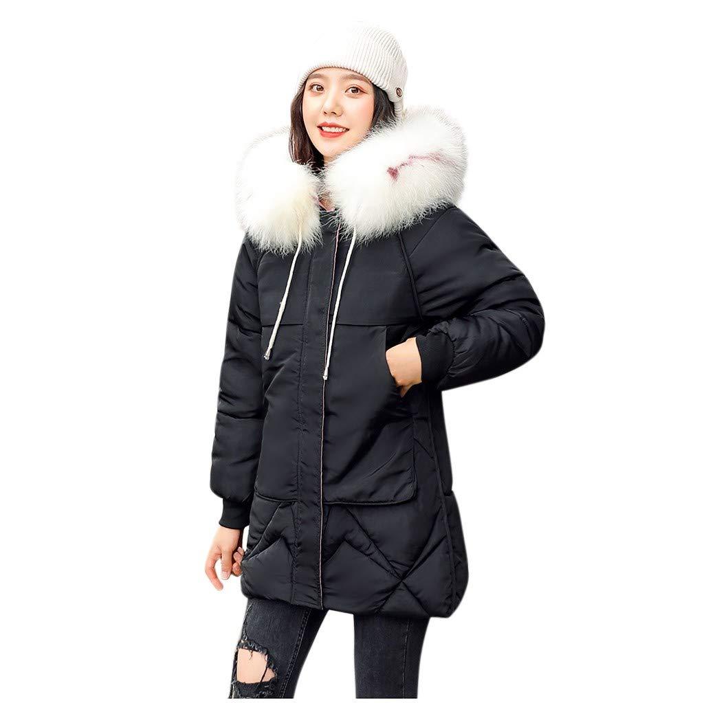 Women Parka Winter Jacket,Jchen Ladies Thickened Parka Coats Loose Overcoat Jacket Warm Winter Faux Fur Hooded Coats Black by Jchen_Women Coat