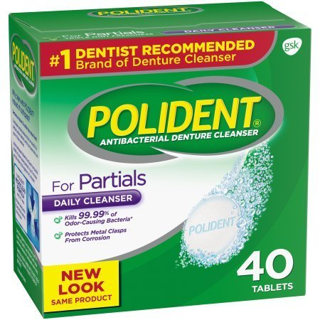 PACK OF 10 - Polident Partials Antibacterial Denture Cleanser Effervescent Tablets 40 ct Box