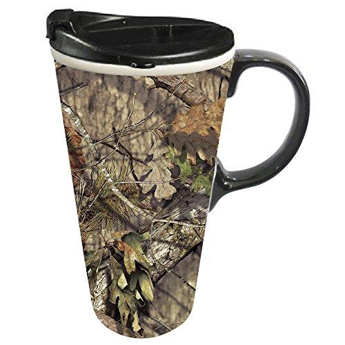 Cypress Home Mossy Oak Country Ceramic Travel Coffee Mug, 17 ounces