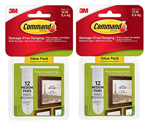 - Command Picture Hanging Strips, Medium, White, 12 Pairs per Pack, Sold as 2 Pack, 24 Pairs Total (17204-12ES)