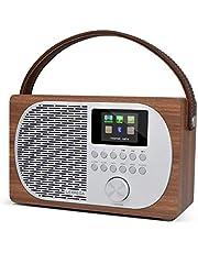 LEMEGA M2P Internet Radio, DAB/DAB+/FM Digitale Radio, Bluetooth Luidspreker, Draagbare DAB Radio, Hoofdtelefoonaansluiting, Wekker, Oplaadbaar op batterij of netvoeding. -Okkernoot Afwerking
