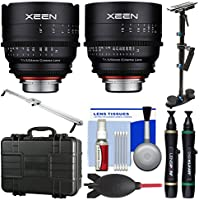 Rokinon Xeen 24mm & 50mm T/1.5 Pro Cine Lens Bundle (for Video DSLR Canon EF) with Waterproof Hard Case + Camera Slider + Stabilizer + Kit