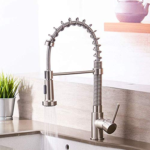 Retro Kitchen Taps Swivel & Spring Spout Pull Out Chrome Polished, Single Handle Bar Taps Chrome Monobloc Kitchen Sink Mixer Tap, Modern Bar Rotary 360 Multi-Use Water ()