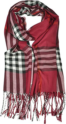 Hand By Hand Aprileo Women's Plaid Scarf Checkered Classic Long Wrap Shawl [Burgundy.](One ()