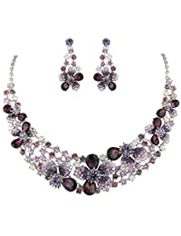 Ever Faith Austrian Crystal Spring Flower Necklace Earrings Set