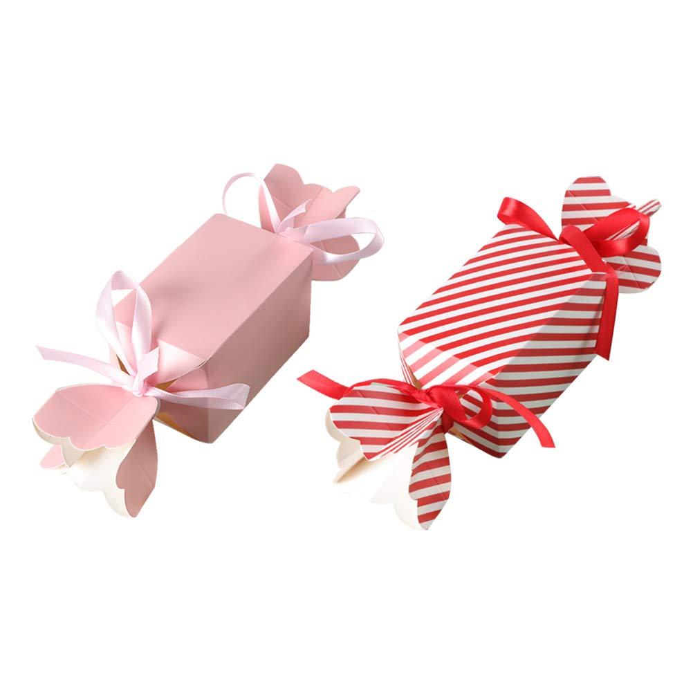 BESTOYARD Scatola di Caramelle di Carta di Nozze Caramella di Caramelle di Disegno di Forma di Caramella Scatole Regalo di imballaggio con Nastro Forniture di Nozze 50 PZ (Grande)