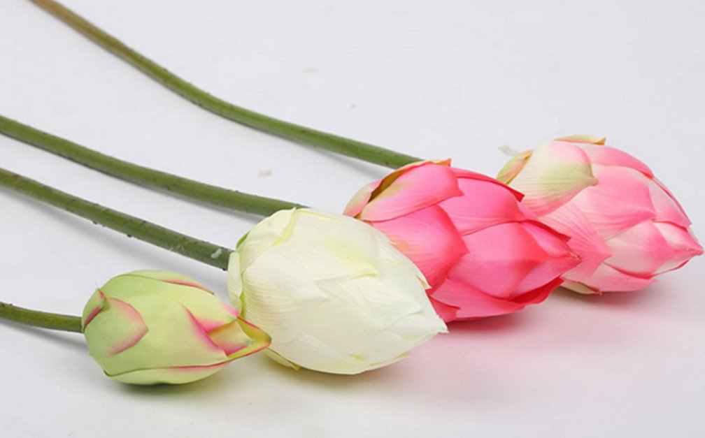 Skyseen-Artificial-Water-Lily-Flower-Real-Touch-Green-Leaves-Lotus-Flower-for-Garden-and-Pond-Decor-Pack-of-4