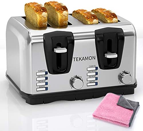 TEKAMON Toaster Slice 4 Classic Stainless Steel Toaster, Extra Wide Slots, 7 Bread Shade Settings, Bagel/Reheat/Defrost/Cancel Function, Removable Crumb Tray, Pink Cleaning Cloth