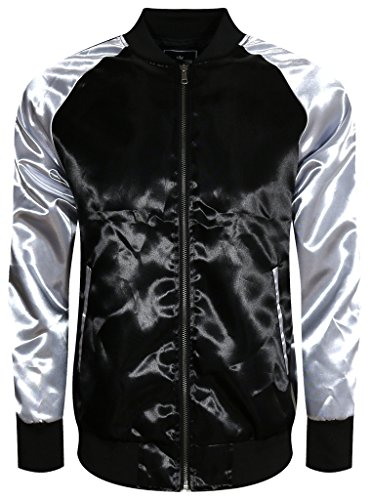 UPSCALE Mens Satin Souvenir Jacket BLACKSILVER L