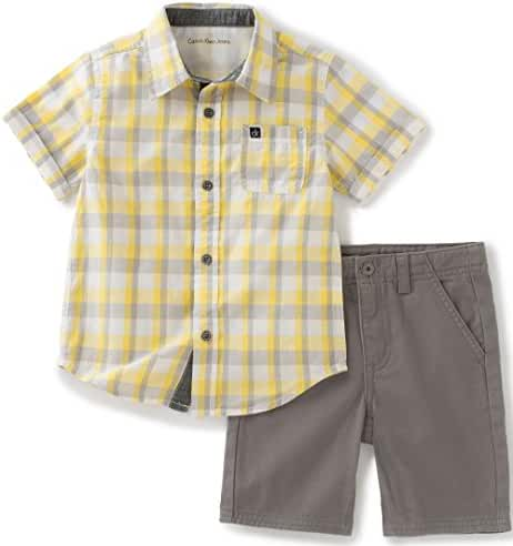 Calvin Klein Baby Boys' 2 Pieces Short Set-Plaid Woven Shirt
