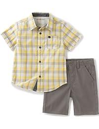 Baby Boys' 2 Pieces Short Set-Plaid Woven Shirt