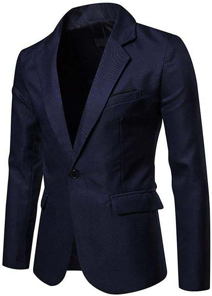 XTX Mens Solid One Button Slim Long Sleeve Formal Sport Coat Blazer Jacket Navy Blue XL