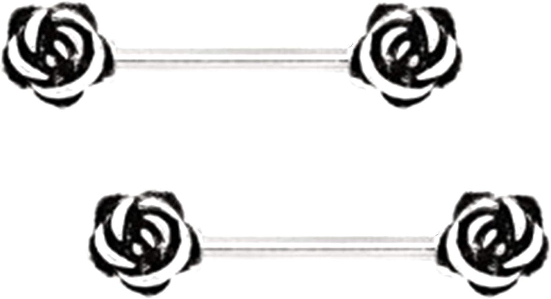 1 Pair Red Rose Flower Barbell NippleRing Stainless Steel 14g Body Jewelry