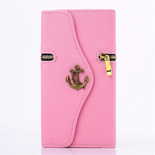 Samsung Galaxy Note4 Case, Borch Luxury Fashion Handbag Metal Anchor Zipper Style Design Pu Leather Wallet with Credit Id Card Slots/ Money Pockets Folio Leather Case Cover for Samsung Galaxy Note4 (Pink)