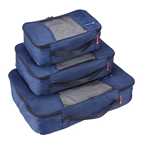 Premium Set of 3 Packing Cubes, Superior Travel Organizer Fits Inside Suitcases, Light Weight, Durable Fabric & Zippers, Highest Quality Materials (Blue) by NewNomad (Image #1)