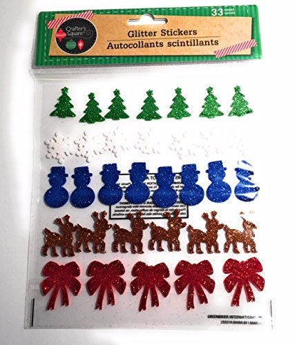 Multi Colored Holiday Glitter Bows Reindeer Snowman Snowflakes Trees Stickers (30 Pieces)