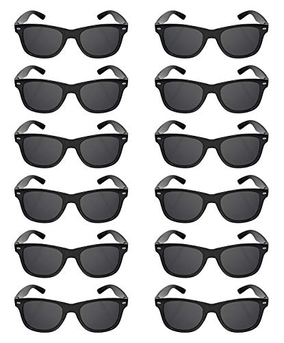 48 Black Sunglasses Bulk Wholesale Party Pack-Retro Wayfarer Risky Business-Blues Brothers Black Sunglasses for Graduation Mardi Gras Holidays-Birthday Wedding Party Adult Kids-New